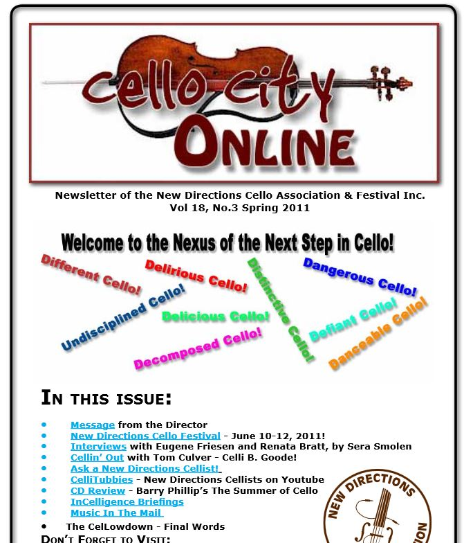 Cello City Online.  Spring 2011