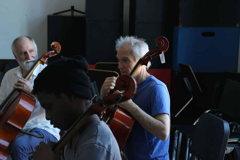 Eugene, Corbin & Coman Fevrier () (volunteer) in a workshop